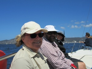here is Di (sailboat owner and ex-president of the Hobart bicycle club-now signed on with Victoria's)