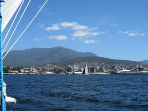 Hobart with Mt. Wellington in the back ground