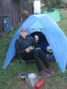 free campsite at Dunalley, next to a pub, a cyclist's dream!
