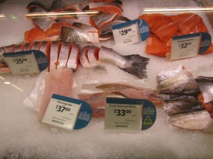 Look at the price of salmon! I ate lamb all the time...and wallaby and kangaroo...